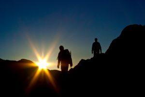 2 climbers, sunrise, Stubaital, Austria