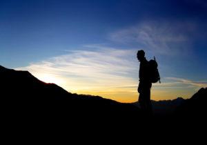 Stubaital, Österreich, Bergsteiger, Sonnenaufgang