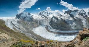 Gorner glacier, view of Monte Rosa