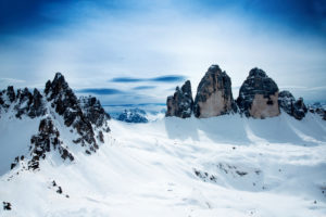 Three pinnacles from the Sextner Stein in the winter, Dolomites, South Tyrol,