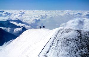 2 Personen Gipfelanstieg, Piz Palü, Wolkenmeer, Schweiz, Bernina