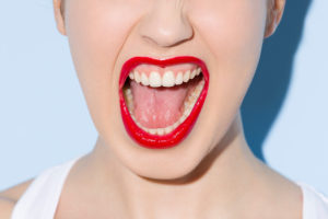 Young woman, face, detail, mouth, shouting, close-up,