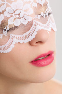 Young woman, veil, lace, bridal make-up