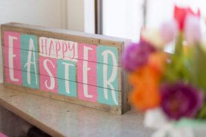Happy Easter, Blumenstrauß, Fenster, Gegenlicht