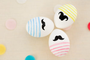 Group of Easter eggs with beard, colourful