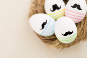 Easter nest, Easter eggs with beard, detail shot