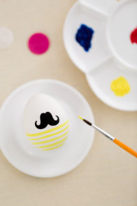 Eggcups, Easter egg with beard, brush, painting, stripes