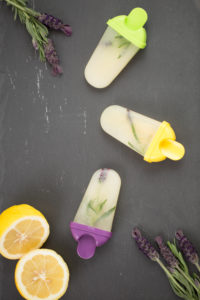 Lemon ice cream with lavender, home-made, slate