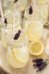 Mason Jars, lavender, lemons, tree slice