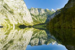 Berchtesgaden, Alps, Fischunkelalm, Obersee, reflection, Röth, Teufelshörner