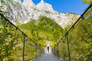 Berchtesgaden, Alps, Ramsau, Klausbachtal, suspension bridge, hiker