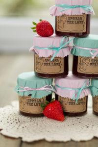Strawberry jam, bottling jars, stacked,