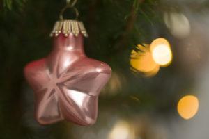 Weihnachtsbaum, Picea glauca conica, Weihnachtskugel, sternförmig, Nahaufnahme