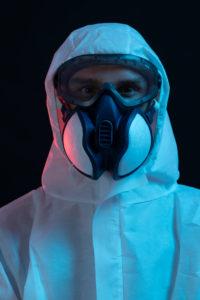 Symbol, corona, science, research, vaccine, danger, dystopian, protective suit, portrait