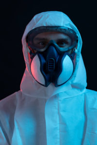 Symbol, corona, science, research, vaccine, danger, dystopian, protective suit, portrait