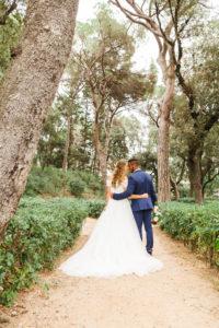 Hochzeit, Brautpaar, umarmen, Diversität, Liebe, Garten, Park