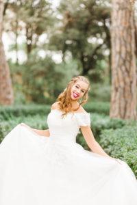 Bride, wedding, garden, young woman, wedding dress, panning, laughing, happy