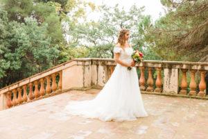 Bride, wedding, garden, young woman, wedding dress, stairs, landscape format