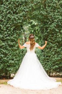 Braut, Hochzeit, Pergola, junge Frau, Brautkleid, Rücken, angelehnt