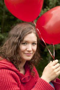Woman, young, balloon, park, portrait,