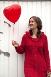 Woman, young, balloon, heart shape, fallen in love,