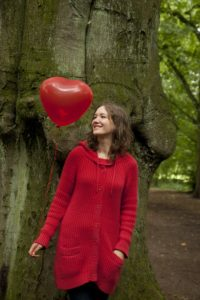 Woman, young, balloon, tree, forest,