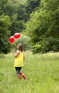 Woman, young, balloons, park,