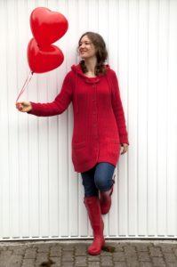 Woman, young, balloons, heart shape, fallen in love,