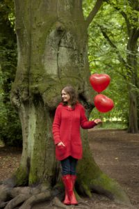 Woman, young, balloons, tree, forest,