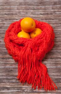 Defences, precaution, medicine, health, oranges, scarf
