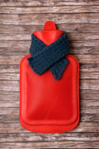 Hot-water bottle, scarf, medicine, health