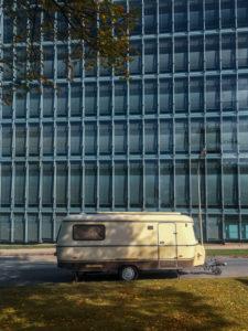 Entschleunigung, Wohnwagen, Stadt, Camping