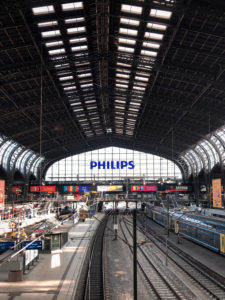 Railway station, tracks, emptiness, Hamburg, Germany
