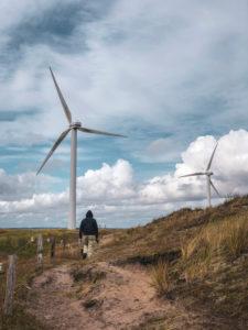 Deceleration, walk on the North Sea, wind turbines, Denmark