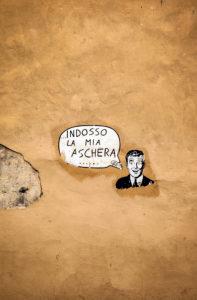 Wall, graffiti, Lucca, Tuscany, Italy