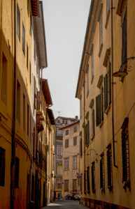 House, alley, Lucca, Tuscany, Italy