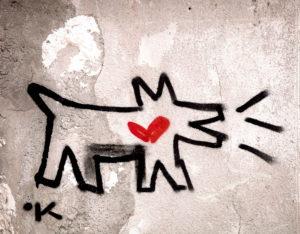 Keith Haring, Mauer, Graffiti, Hund, Pisa, Toskana, Italien