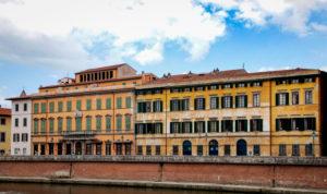 Panorama, Fluss Arno, Häuser, Pisa, Toskana, Italien