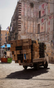 Delivery truck, square, Palermo, Sicily, capital, big city, Italy