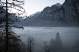 Cold air lake with morning mist