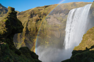 Iceland, Skógar, Skógafoss, the rock as a troll or an elven residence