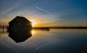 Steghaus am Ammersee zum Sonnenuntergang