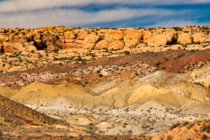 USA, Utah, Arches National Park, colorful rock formations,