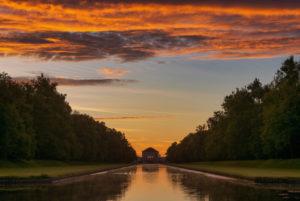 Nymphenburg Palace, Mittelkanal, sunrise, Munich, Bavaria, Germany