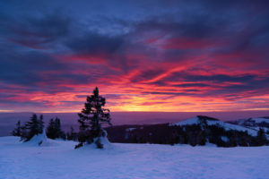 Sunset at the Großer Arber, on the right the small Arber, in the Bavarian forest