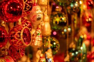 colorful shiny Christmas balls at the Munich Christkindlmarkt