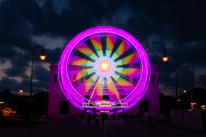 "Ferris wheel at the Königsplatz in Munich, at the blue hour under the motto ""Summer in the city"" events"