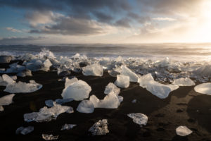 Iceland, Iceland in autumn, view of ice on Diamond Beach