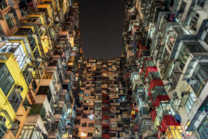 China, Hong Kong, densely populated courtyard in the evening