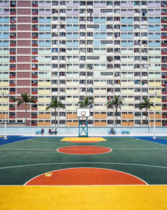 China, Hong Kong, Colorful colors in courtyard on sports field